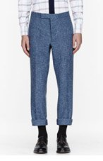 THOM BROWNE Blue confetti slub trousers for men