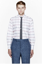 THOM BROWNE Red oxford plaid classic shirt for men