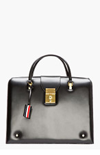THOM BROWNE Black Leather Large Doctor's Tote for men