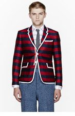 THOM BROWNE Navy striped Silk-Cashmere Blazer for men