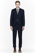 THOM BROWNE Navy fine wool classic suit for men