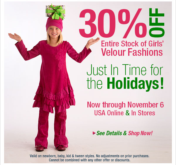 30% off  Velour Fashion