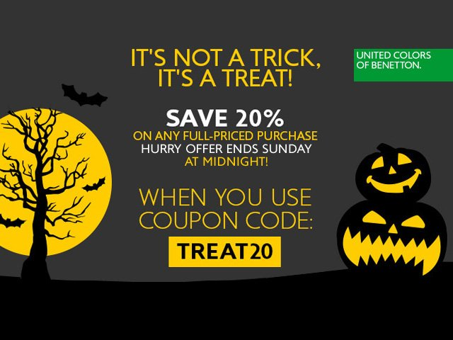 It's not a trick, it's a treat! Save 20% on full-priced items through Sunday.