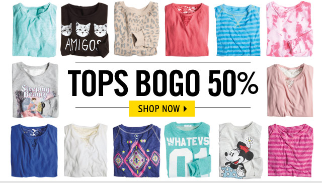 TOPS BOGO 50% OFF select styles.