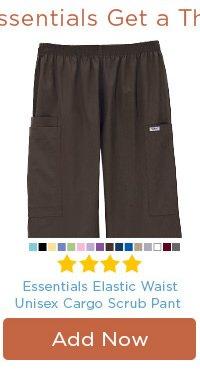 Essentials Elastic Waist Unisex Cargo Scrub Pant - Add Now