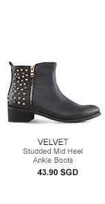 VELVET Studded Mid Heel Ankle Boots