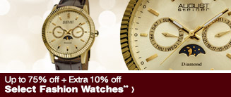 Up to 75% off + Extra 10% off Select Fashion Watches**