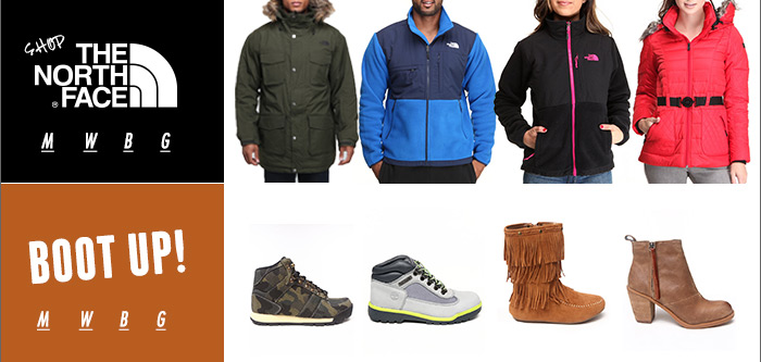 shop northface! shop boots!