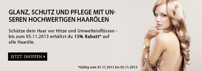 15 Prozent Glanz, Schutz und Pflege Rabatt: HAAR2013