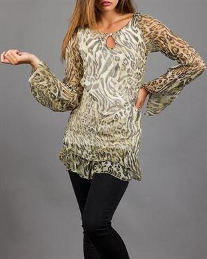 Keysha Leopard Print 100% Silk Tunic Made In Italy