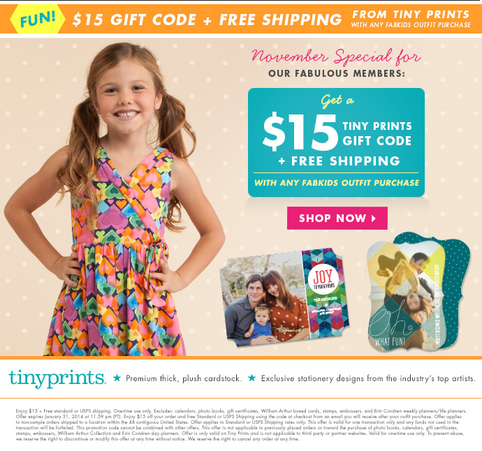 Get A Tiny Prints $15 Gift Code With Your FabKids Outfit Purchase!