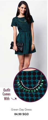 RIVER ISLAND Green Day Dress