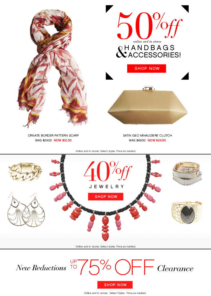 50% Off Handbags and Accessories