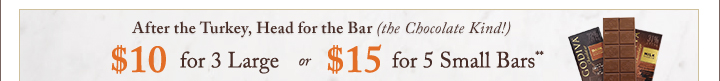 After the Turkey, Head for the Bar (the Chocolate Kind!) $10 for 3 Large | $15 for 5 Small Bars
