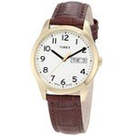 Timex T2N065 Men's Elevated Classics Dress Gold Tone Stainless Steel Brown Leather Strap White Dial Watch