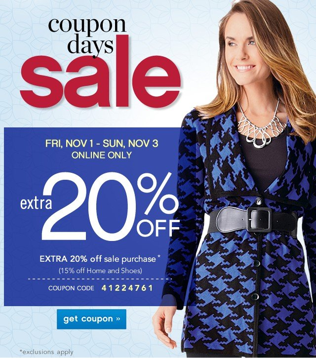 Coupon Days Sale. Extra 20% off. See details.