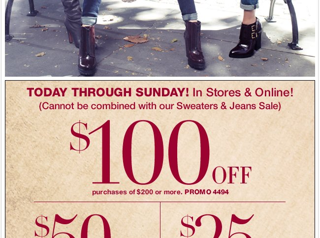 Today through Sunday, Save $100 in-store & online!