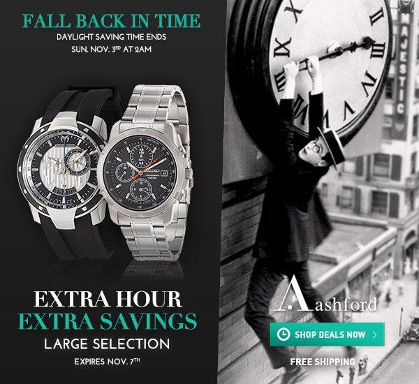 Extra Hour - Extra Savings at Ashford.com!