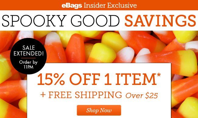 eBags Insider Exclusives | Spooky Good Savings! | 15% OFF 1 Item + Free Shipping Over $25 | Today Only Order by 11PM | Shop Now