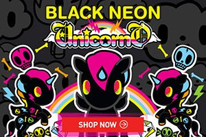 "Black Neon, the newest member of the Unicorno family, is now here in large vinyl form. Standing at 5"" tall, Black Neon is now bigger than life! Complete with far-out neon colors, Black Neon is sure to become one of the coolest Unicornos in your collection!"