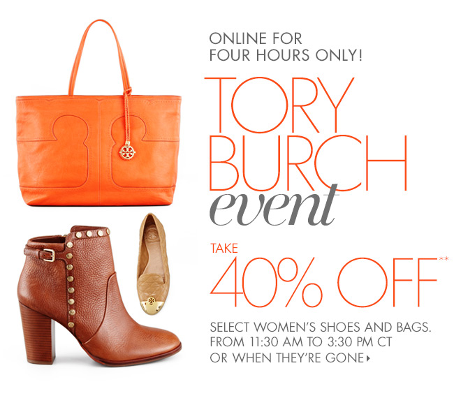 Midday Dash: 40% off Tory Burch  Shoes + Bags