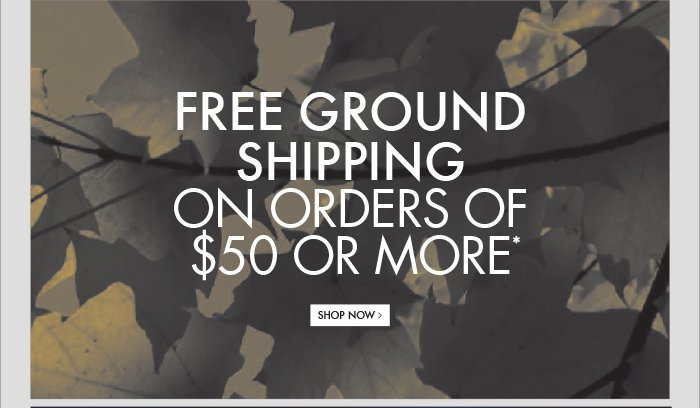 FREE GROUND SHIPPING ON ORDERS OF $50 OR MORE* SHOP NOW