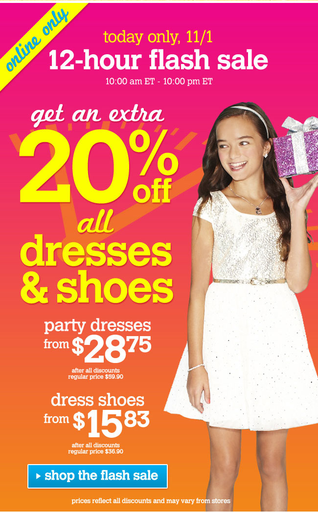 extra 20% off all dresses & shoes
