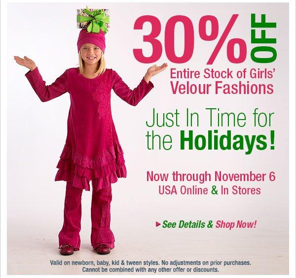 30% off  Velour Fashion