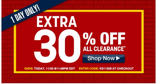 1 day only! extra 30 percent off all clearance - ends today, 11/02 at 11:59pm EDT enter code: KS11209 at checkout - click the link below