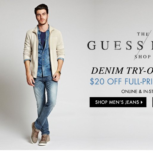 20% OFF Men's Full-Priced Jeans
