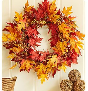 Faux Autumn Leaves and Berries Wreath