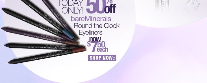 Plus Today Only! 50% off bareMinerals Round the Clock Eyeliners. Now $95.99. Shop Now.