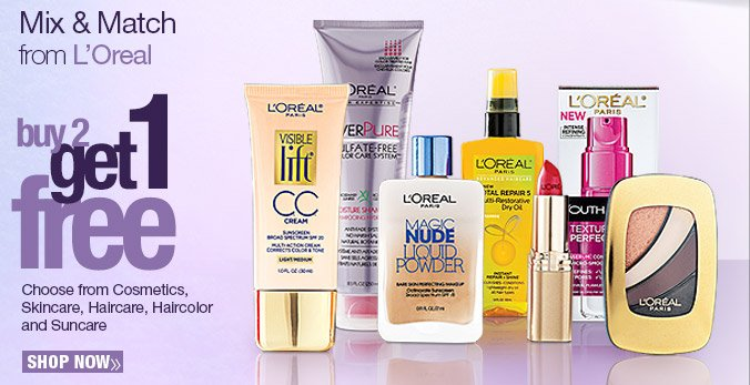 Mix & Match from L'Oreal. Buy 2 get 1 free. Shop Now.