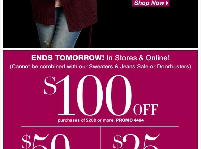 Ends Tomorrow, Save $100 in-store & online!