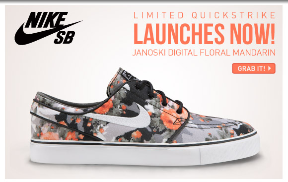 Limited Quickstrike! Nike SB Janoski Digital Floral Mandarin at CCS!