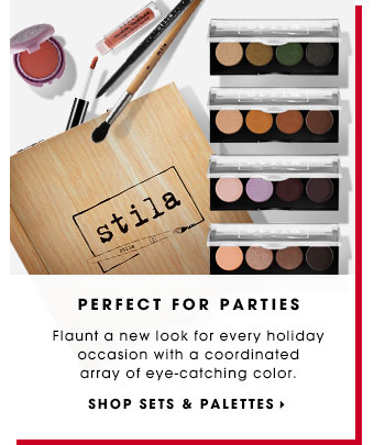 PERFECT FOR PARTIES. Flaunt a new look for every holiday occasion with a coordinated array of eye-catching color. SHOP SETS & PALETTES