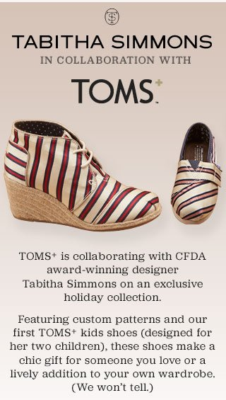 Introducing Tabitha Simmons in collaboration with TOMS+