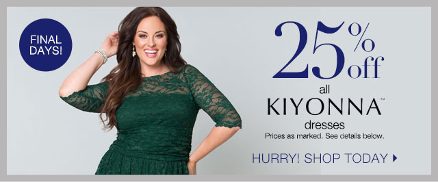 25% Off all Kiyonna Dresses