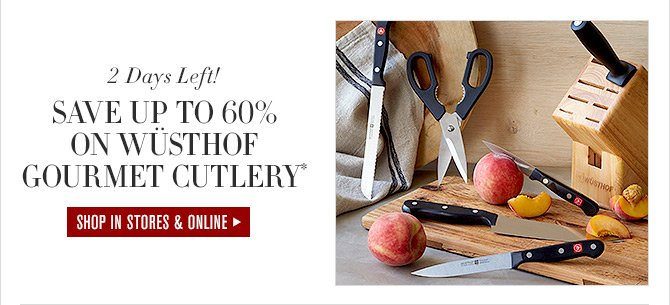 2 Days Left! - SAVE UP TO 60% ON WÜSTHOF GOURMET CUTLERY* - SHOP IN STORES & ONLINE