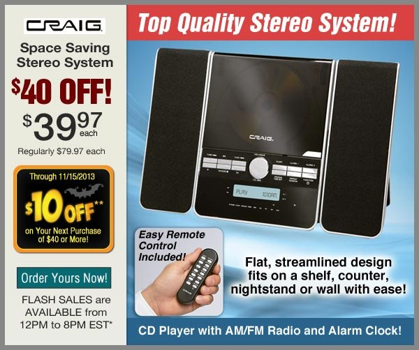 $40 OFF Stereo System