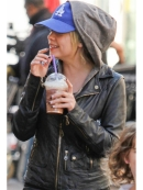 Doma Leather Moto Jacket with Hood in Black as Seen On Ashley Benson