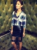 Rails Hunter Button Down in Green/White as seen on Jaime Chung