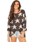 Wildfox White Label Seeing Stars Lennon Sweater in Dirty Black