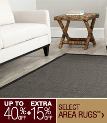 Up to 40% off + Extra 15% off Select Area Rugs**