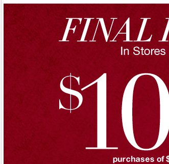 Final hours to save $100!