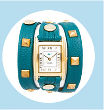 Teal-Gold Pyramd Stud Wrap Watch