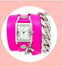 Neon Pink Silver Malibu Chain Wrap Watch