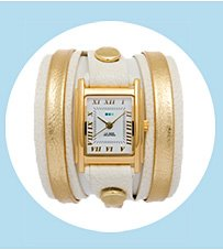 Eggshell-Gold Layer Wrap Watch