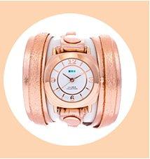 Metallic Rose Gold Layer Wrap Watch