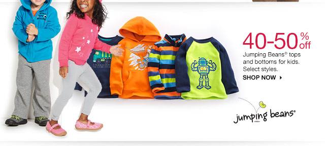 40-50% off Jumping Beans tops and bottoms for kids. Select styles. SHOP NOW